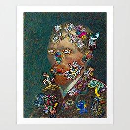 Self Portrait by Vincent Van Gogh  and Graffiti Cool Monsters  Art Print
