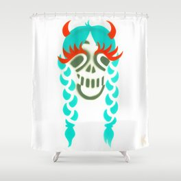 Happy braided Skull Lady_turquoise Shower Curtain