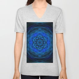 Blue Kaleidoscope, Floral, Pattern, Mandala, Fractal, Abstract, Alchemy, Oriental Unisex V-Neck