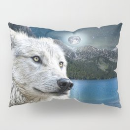 White Wolf and Moonlight Pillow Sham
