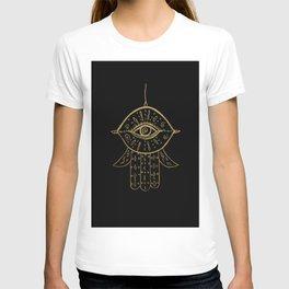 Hamsa Hand Gold on Black #1 #drawing #decor #art #society6 T-shirt