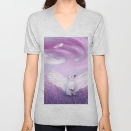 Under His Wings - Purple Gray Unisex V-Neck