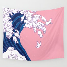 Llama Waves in Pink Wall Tapestry