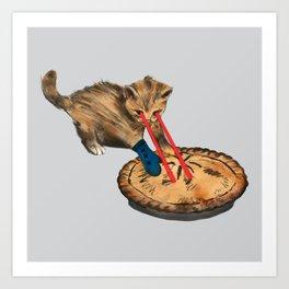 Laser-Eyed Kitten with a Mitten Art Print