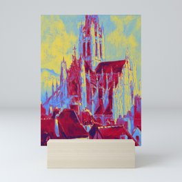 Robert Pinchon (French, 1886-1943) The church Saint-Maclou in Rouen Neon art by Ahmet Asar Mini Art Print