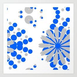 Blue Grey Burst Art Print