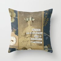 cartoons Throw Pillows featuring marshmallows and cartoons by jotjoy