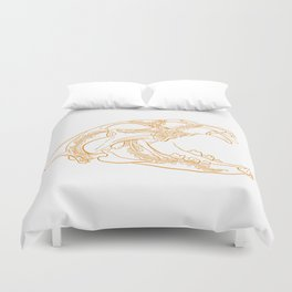 Lion skull with floral ornament Duvet Cover