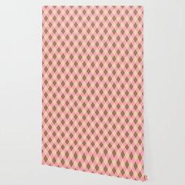 Pink, Brown, Beige Check Pattern Wallpaper