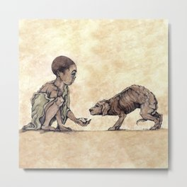 Boy and Puppy Metal Print