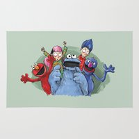 cookie monster Area & Throw Rugs featuring cookie monster by ErsanYagiz