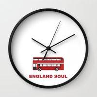 england Wall Clocks featuring England Soul by Tony Vazquez