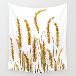 golden wheat field watercolor Wall Tapestry