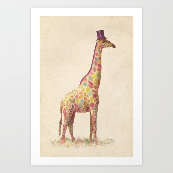 Fashionable Giraffe Art Print