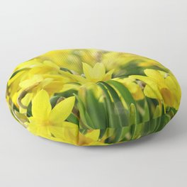 Bright Yellow Narcissus Floor Pillow
