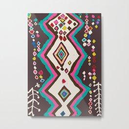 Bohemian Tribal Rug Pattern in Brown Metal Print