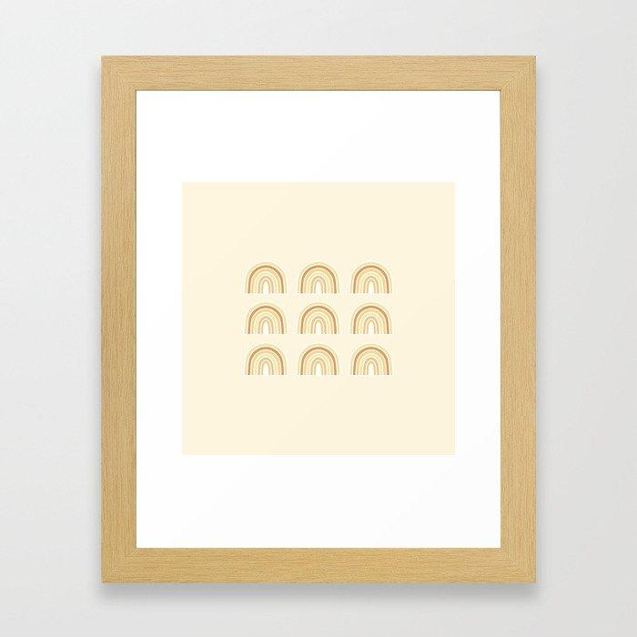 Neutral Rainbows Framed Art Print