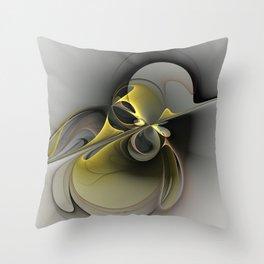 Abstract, Golden Gray Fractal Art Throw Pillow