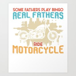 Motorcycle Father Bingo Father's Day Gift Art Print