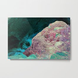 pastel bright green pink alien planet cave landscape Metal Print