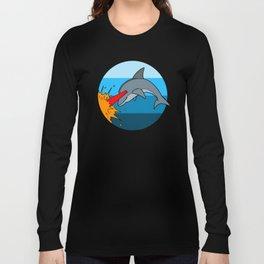 Laser Dolphin 1980s Retro Sci-Fi Design Long Sleeve T-shirt