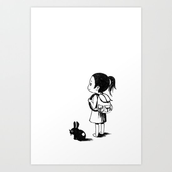 Girl and a Rabbit Art Print