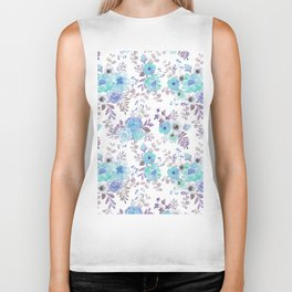 Lilac teal blue hand painted watercolor floral Biker Tank