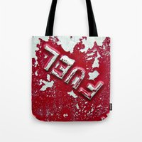 pocket fuel Tote Bags featuring Fuel by AmandaMuses
