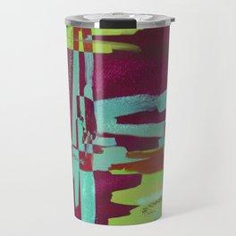 Raspberry Jam - Textured, abstract, raspberry, cyan and green painting Travel Mug