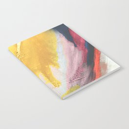 Ambition: a colorful abstract piece in bold yellow, blue, pink, red, and gold Notebook