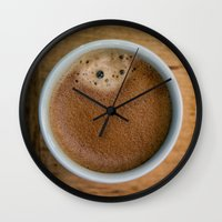 coffe Wall Clocks featuring Coffe Time by JAY'S PICTURES