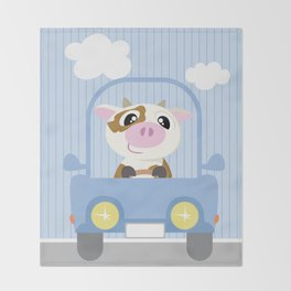 Mobil series car cow Throw Blanket
