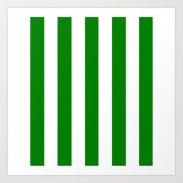Green (HTML/CSS color) - solid color - white vertical lines pattern Art Print