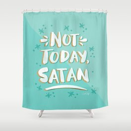 Not Today, Satan – Mint & Gold Palette Shower Curtain