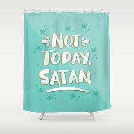 Not Today, Satan – Mint & Gold Palette Shower Curtain