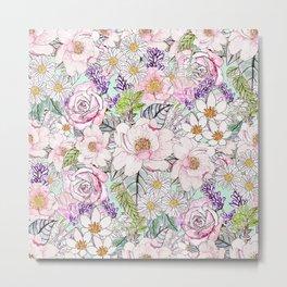 Watercolor garden peonies floral hand paint Metal Print