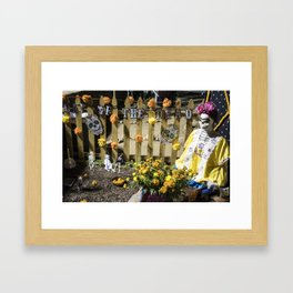 Day of the Dead Cemetery Altar with Marigolds and Frida Kahlo Skeleton Lady Framed Art Print