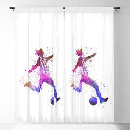 Girl playing soccer football player silhouette Blackout Curtain