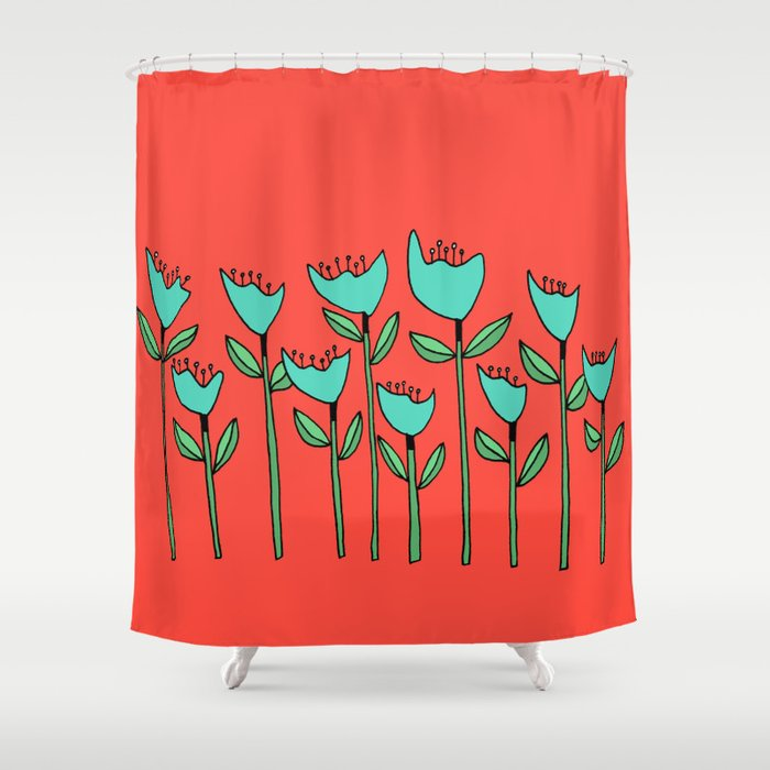 Colorful Floral Drawing Shower Curtain