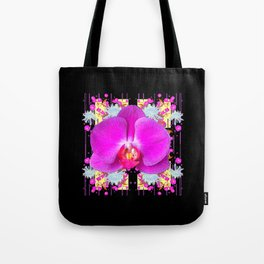 BLACK PURPLE BUTTERFLY ORCHID WHITE MUMS Flowers Tote Bag
