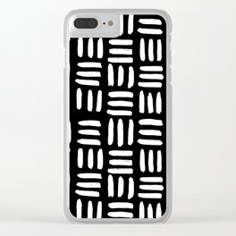 Black Mudcloth Pattern Clear iPhone Case