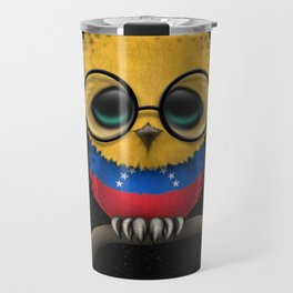 Baby Owl with Glasses and Venezuelan Flag Travel Mug