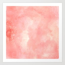 Coral pink watercolor abstract brushstrokes pattern Art Print