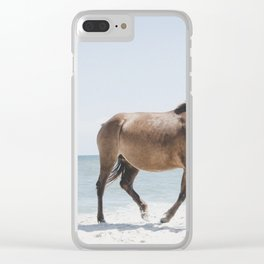 Horses Walking On Beach During Day Clear iPhone Case