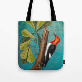 Red Headed Woodpecker with Oak, Natural History and Botanical collage Tote Bag