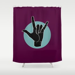 ILY - I Love You - Sign Language - Black on Green Blue 08 Shower Curtain
