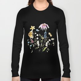 wild flowers and blue bird _ink and watercolor 1 Long Sleeve T-shirt