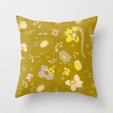 large flowers - mustards Throw Pillow