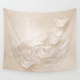 Fabulous butterflies and wattle with textured chevron pattern in subtle iced coffee Wall Tapestry