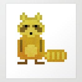 Pixel Racoon Art Print